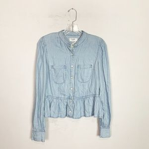 Frame   chambray button up peplum blouse small